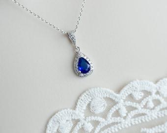 Blue Sapphire Necklace, Bridal Necklace, Bridesmaids Necklace, Wedding Blue Sapphire Necklace, Cubic Zirconia Blue Sapphire Necklace