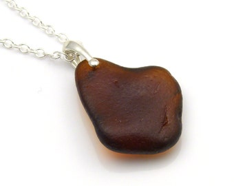 Toffee Brown Sea Glass on Sterling Silver Necklace TARYN, Sea Glass, English Sea Glass, Northumberland, Beach Glass, The Strandline