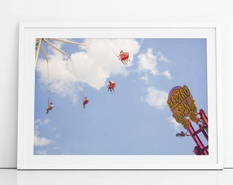 "Boardwalk Carnival Print // Fun Colorful Boardwalk Theme Park Print // Kids Room & Nursery Decor // Theme Park Photography - ""Electro Spin"""