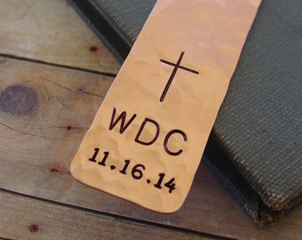 First Communion Bookmark, Cross Bookmark, Personalized Monogram & Date, Religious Gifts for Boy or Girl, Confirmation Gift, Baptism Gift