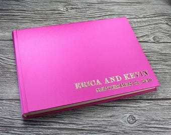 A5 Personalised photo booth guest book – 19 Colours available -  fully bound in satin (210mm x 148mm landscape)