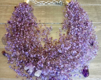 Weddings jewelry Amethyst stone airy crochet necklace multistrand statement cobweb unusual natural stone beaded bridal necklace bridesmaid