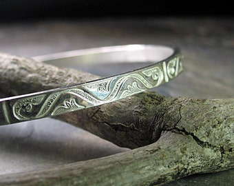 Sterling silver stacking bangle stackable pattern wire art deco - Silver Elegance