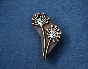 Dandelion Stamp Blocks, Wood Block Art, Textile Printing Block, Hand carved Stamp, Pottery Stamp Wooden Stamp India, Block Printing Supply