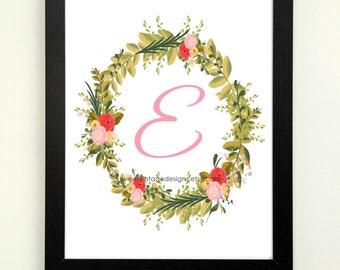 Letter E Printable, 8x10 Instant Download, Baby Girl Nursery Art, Nursery Decor, Floral Monogram, Letter Art, Baby Gift, Baby Shower Gift
