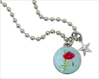 Poppy Charm, Kids Necklace, Childrens Jewelry, Girls Necklaces, Girls Bracelets, Interchangeable jewelry, Kids Bracelet, Photo Jewelry,