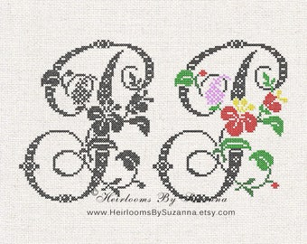 "Large Antique Floral Monogram - Machine Cross Stitch Embroidery - Tropical Flower Initial - Cross Stitch Font - Floral Font ""P"" - HBS-61-P"