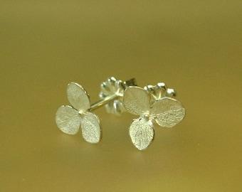 Teeny Silver Hydrangea Flower Stud Earrings, Small Flower Earrings, Delicate Stud earrings, Made to Order