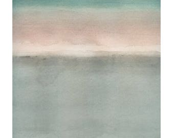 Large Giclee print, Abstract Art, original watercolor, Large wall art, soft pink, sea foam green, gray, color field painting original art