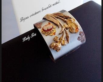 Jewelry creator bracelet metal cuff. Lady Iris