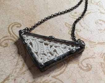 Soldered Glass Pendant, Vintage Wedding Lace Charm, Geometric Jewelry, Chevron Style, Stained Glass Necklace, Artisan Made, Shadow Box Charm