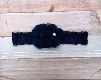 Black Pearl & Rhinestone Lace Flower girl Flowergirl Bridesmaid accessory Baby Girl Headband Photo Prop