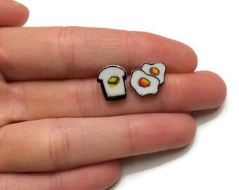 Eggs and Toast Stud Earrings