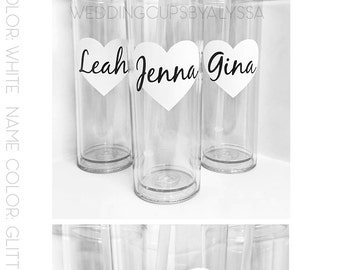 Custom skinny cups, personalized cups, bridal shower gift, wedding gift, wedding cups, bridesmaids gift, Bachelorette gift, Bride gift