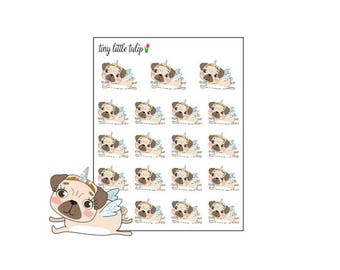 Planner Stickers Pug Flying