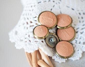 Peach buttons_plastic shank buttons_set of six_powder pink beige_diameter 22 mm/0.86'', 18mm/0.7''_brass edges_fabric metal plastic buttons