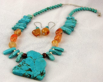 """Synthetic Turquoise Set - """"Funky, Chunky Turquoise"""""""