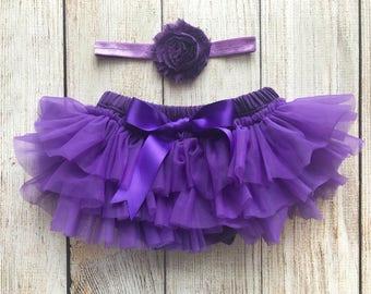 Purple Bloomers - Baby Girl Tutu Bloomer and Headband Set in Purple - Newborn Photo Set - Cake Smash Set - Baby Shower Gift