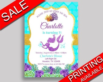 Mermaid Birthday Invitation Mermaid Birthday Party Invitation Mermaid Birthday Party Mermaid Invitation Girl mermaid party PFHEP