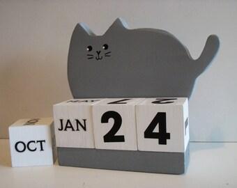 Cat Perpetual Wood Block Calendar Fat Grey Cat