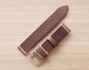 Horween Chromexcel Natural Leather Watch Strap in 16mm/18mm/20mm/22mm/24mm