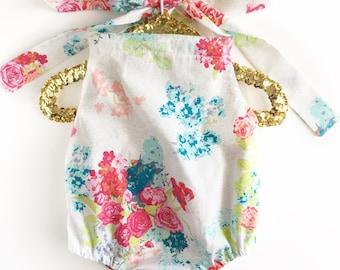 6-12 Months Girls Romper - Sundress - Baby Romper - Baby Sunsuit - Toddler Romper - Toddler Sunsuit - Baby Girl Dress - Floral Romper