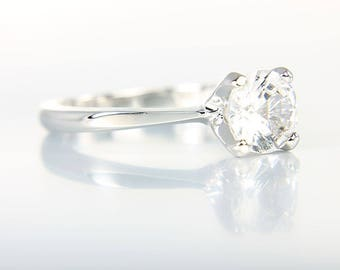 Sterling silver Promise ring, Solitaire Engagement, 1 carat faux diamond Brilliantelle crystal vintage Avon jewelry