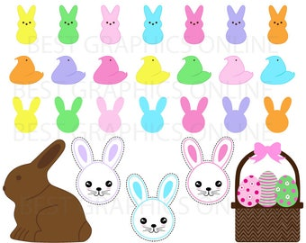 80% OFF SALE Chocolate easter bunny clip art, Peeps Easter candy clipart, Easter marshmallow bunnies and Chicks clipart, Easter sweets AL9