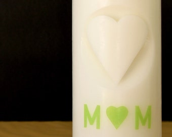 """Wedding Candle """"Herz"""" with initials, White, 20x8"""