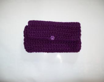 Plumb Crochet Clutch  Cosmetic Bag Toiletry Bag  Coupon Holder Makeup Bag