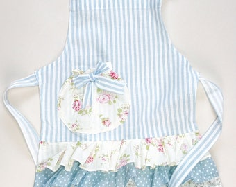 blue stripe and floral ruffle girls apron. Mommy and me apron. toddler apron. Little girl apron. Playtime apron.