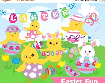 75% OFF SALE Easter Chicks Clipart, Commercial Use, Easter Peeps Vector, Digital Clip Art, Easter Eggs - UZ890