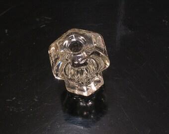"Vintage 6-Sided Glass Drawer Pull - 1-1/8"" - Cabinet Hardware"