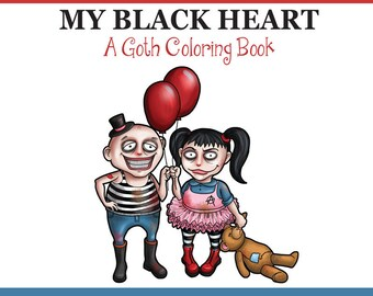 Goth Girls Adult Coloring Book PDF, printable adult coloring book with cute goth girls -14 pages by SLS Lines