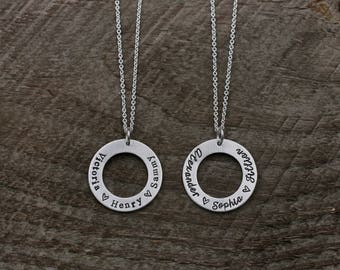 Sterling Silver Washer Necklace, Hand Stamped Mother's Necklace