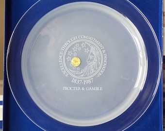 150th Anniversary Procter & Gamble Old Logo Sesquicentennial Anniversary Plate, Procter and Gamble Memorabilia, French Lead Crystal - X