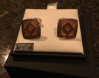 David Donahue Sterling Silver Square Gold and Burnt Orange  original 330.00