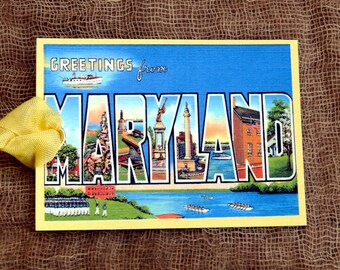 Greetings From Maryland Large Letter Souvenir Postcard Gift or Scrapbook Tags or Magnet #G 37