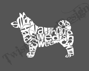 Swedish Vallhund vinyl decal Wordy, descriptive for vehicle window, laptop, water bottle, or other items