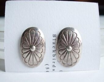 Vintage Sterling Silver Southwestern Conch Stud Post Earrings