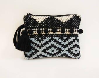 Black cream pattern kilim clutch bag with pom poms. Kourelou bag. Pom pom rug purse. Boho kilim bag. Ethnic hippie clutch. Gift for her.