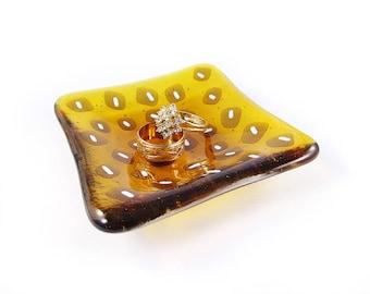 Trinket Dish Ring Dish Leopard Dish Fused Glass Dish Soap Dish Catch All Dish Jewellery Dish Gift Dipping Bowl Yellow Dish Amber Dish