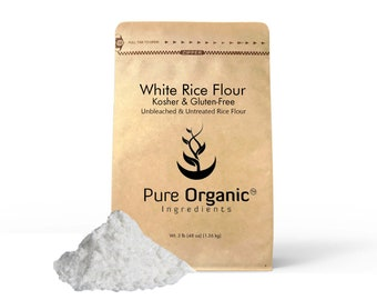Pure Organic Ingredients White Rice Flour, Kosher, Gluten Free, Fat Free, Sodium Free, Unbleached & Untreated, Vegan