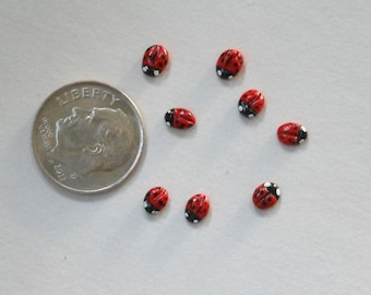 "Ladybugs-Itsy Bitsy Polymer Clay Lady Bugs/  these are 3/16"" to 1/4"" in  diameter/OOAK/Set of 8/Fairy Garden/Terrarium/Train Scenes"