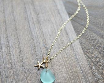 Tiny sea glass necklace, Sea glass pendant necklace, Starfish charm necklace, Sea glass necklace gold or silver