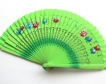 Hand Fans, hand fan, abanico,  green-flowered