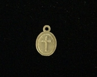 24 Pieces Tiny cross charms, oval charm with raised cross, small bronze cross charms 15x10mm 31-13-B