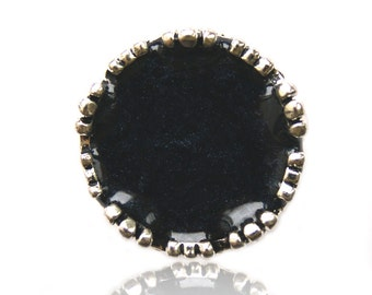 Pearly black handpainted ring, black hand-painted ring, black resin ring, Pearly black ring