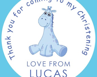 35 Personalised Christening Baptism Giraffe 37mm Round Stickers labels Party