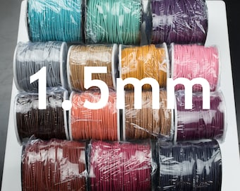Distressed Leather Cord, Round 1.5mm - Natural Colored Leather Cord, Distressed, Natural Dye Leather Cord